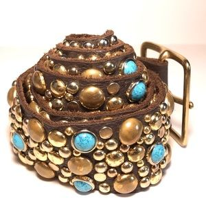Accessories - Turquoise and brass embellished belt.